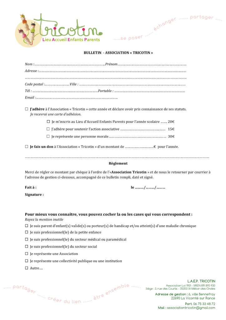 Bulletin d'adhésion TRICOTIN