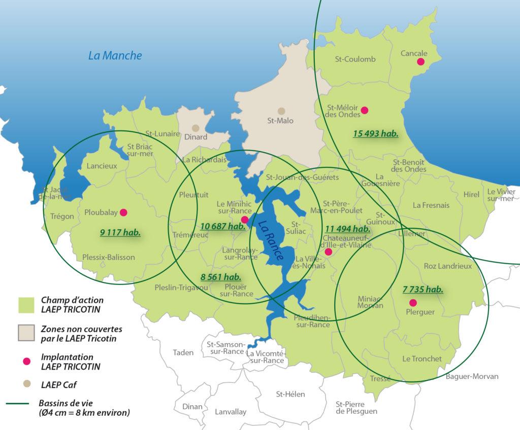 Carte bassin de vie - population TRICOTIN